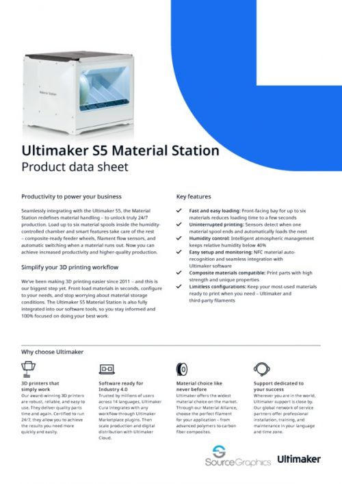 Ultimaker S5 Material Station Specifications
