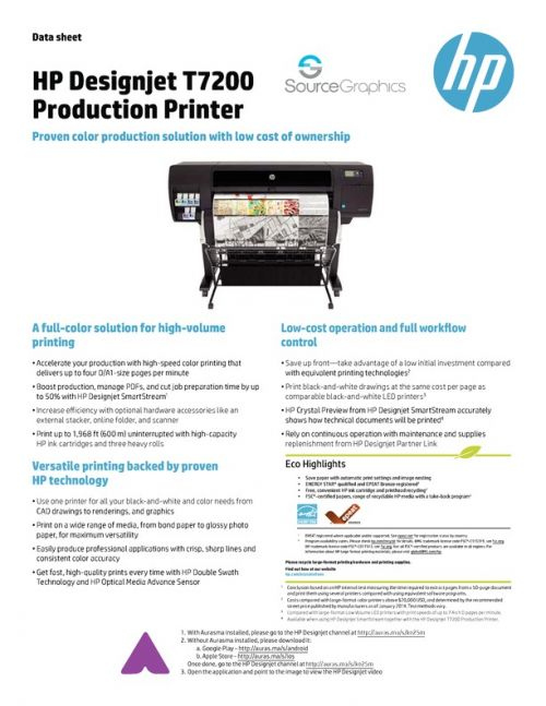 Source Graphics :: DesignJet T7200 Production Printer