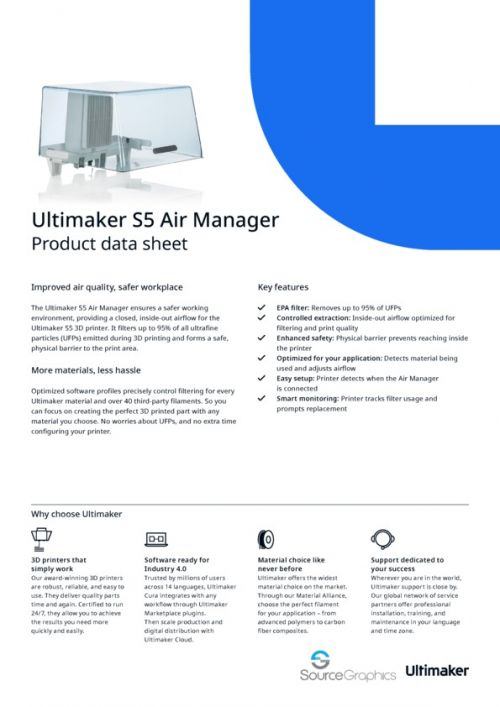 Ultimaker S5 Air Manager Specifications