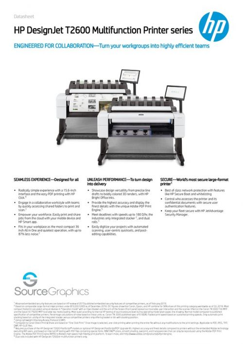 HP DesignJet T2600 Specifications