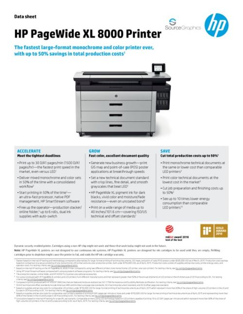 Source Graphics :: HP PageWide XL 8000 Printer