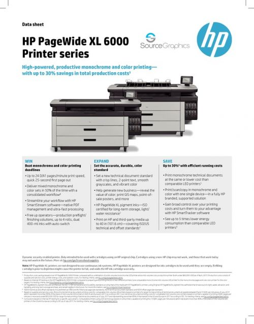 HP PageWide XL 6000 Specifications
