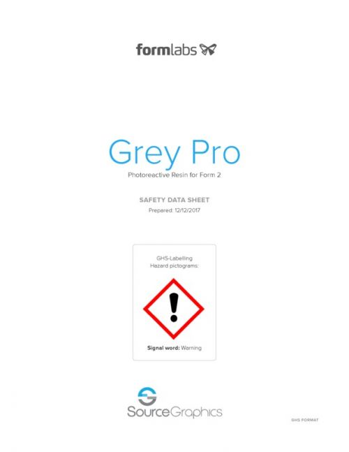 Formlabs Grey Pro Resin Safety Data Sheet