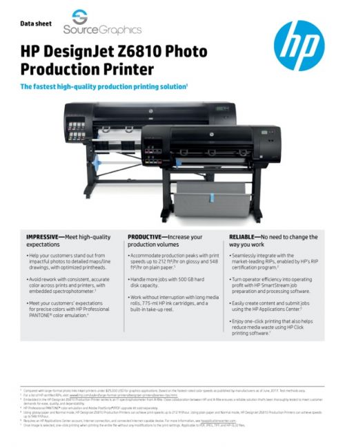 HP Designjet Z6810 Specifications