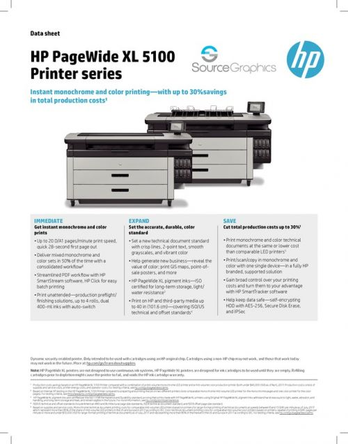 HP PageWide XL 5100 Specifications
