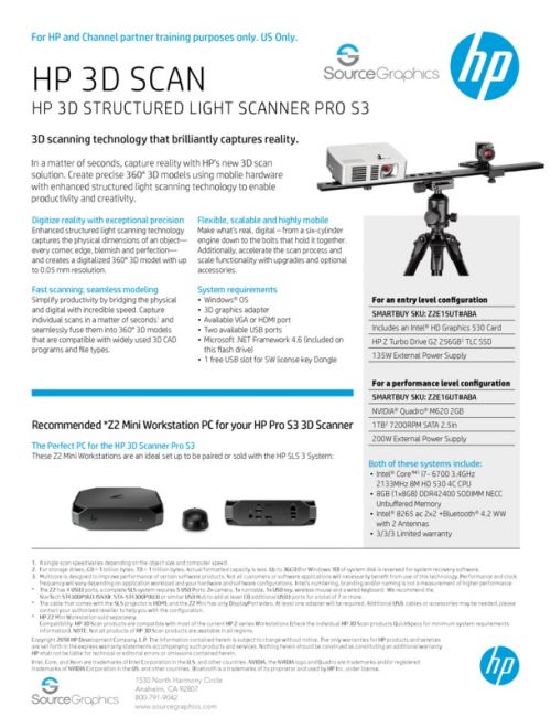 HP Structured Light Scanner Pro S3